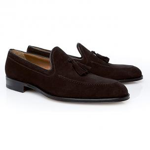Stemar Venezia Suede Tassel Loafers Dark Brown Image