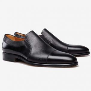 Stemar Asti Deerskin Gore Cap Toe Loafers Black Image