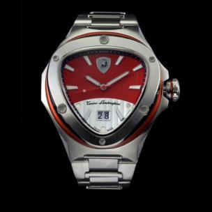 Tonino Lamborghini Spyder 3023 Stainless Steel 3-Hand Watch Chrome/Red Image