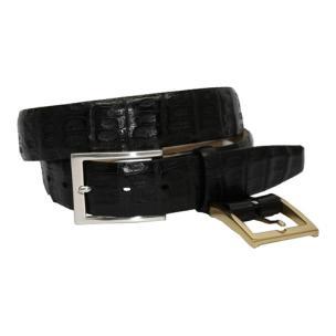 Torino Leather Burnished South American Caiman Crocodile Belt - Black Image