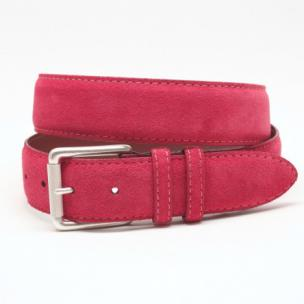 Torino Leather European Suede Belt Red Image