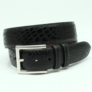 Torino Leather Rustic Alligator Embossed Calfskin Belt Black Image