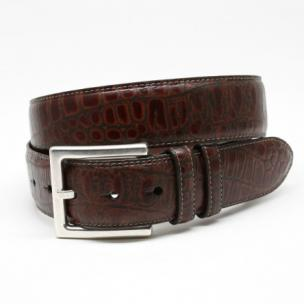 Torino Leather Rustic Alligator Embossed Calfskin Belt Rust Image