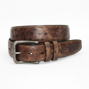 Torino Leather Antique Ostrich Embossed Calfskin Belt Brown Image