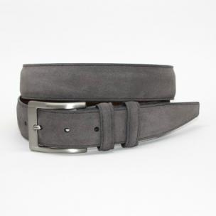 Torino Leather Italian Calf Suede Belt Gray Image