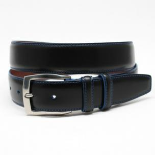 Torino Leather Polished Waxhide Harness Leather Black/Blue Stitch Image