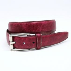 Torino Leather Oiled Shrunked Calfskin Belt Magenta Image