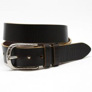 Torino Leather Hand Boarded Latigo Harness Belt Dark Brown Image