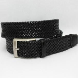 Torino Leather Italian Woven Calf Belt Black Image
