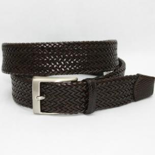 Torino Leather Italian Woven Calf Belt Brown Image