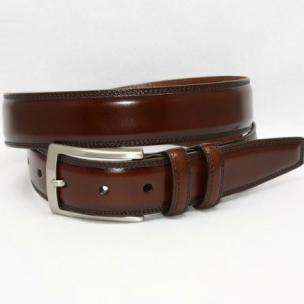 Torino Leather Hand Stained Calfskin Belt Antiqued Brown Image