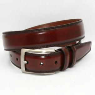 Torino Leather Hand Stained Calfskin Belt Antiqued Chili Image