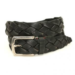 Torino Leather Tumbled Glove Leather Braid Belt Black Image