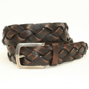 Torino Leather Tumbled Glove Leather Braid Belt Brown Image
