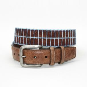 Torino Leather Italian Woven Cork & Waxed Cotton Belt - Brown/Light Blue Image