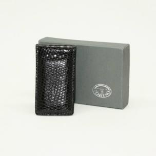 Torino Leather Lizard Magnetic Money Clip Black Image
