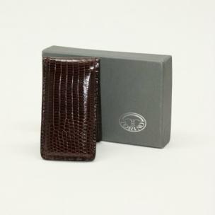 Torino Leather Lizard Magnetic Money Clip Cognac Image