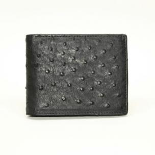 Torino Leather Ostrich Billfold Wallet Black Image