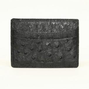 Torino Leather Ostrich Card Case Black Image