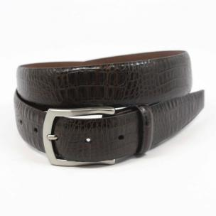 Torino Leather Alligator Embossed Calfskin Belt Brown Image