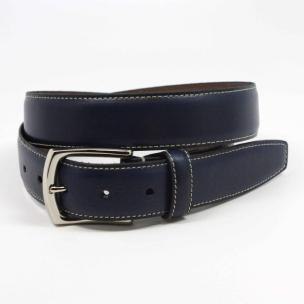 Torino Leather Burnished Tumbled Leather Belt Navy Image