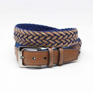 Torino Leather Cork & Rayon Belt Natural / Blue Image