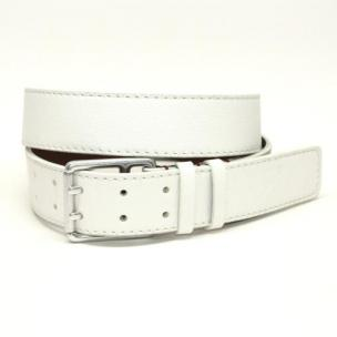 Torino Leather Deertan Side Leather Belt White Image