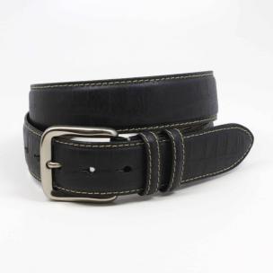 Torino Leather Embossed Alligator Calfskin Belt Black Image