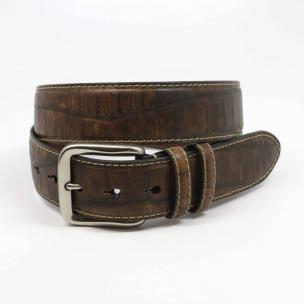 Torino Leather Embossed Alligator Calfskin Belt Cognac Image