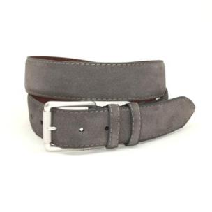 Torino Leather European Suede Belt Slate Image