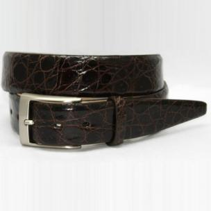 Torino Leather Glazed South American Caiman Croc Belt - Brown Image