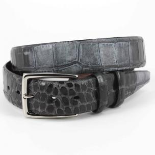 Torino Leather Hand Stained Embossed Calfskin Belt Black Image