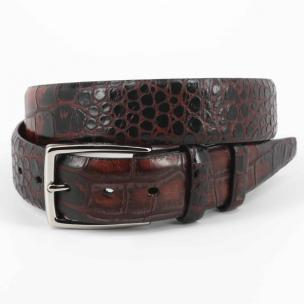 Torino Leather Hand Stained Embossed Calfskin Belt Brown Image