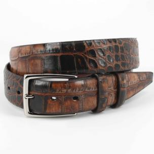 Torino Leather Hand Stained Embossed Calfskin Belt Cognac Image