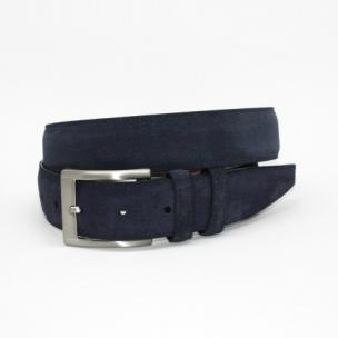 Torino Leather Italian Calf Suede Belt Navy Image