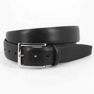 Torino Leather Italian Glazed Milled Calfskin Belt Black Image