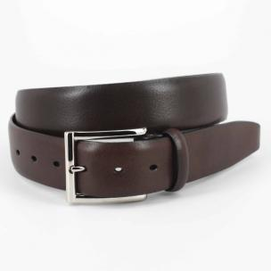 Torino Leather Italian Glazed Milled Calfskin Belt Brown Image