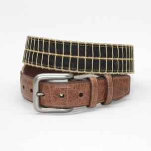 Torino Leather Italian Woven Cork Waxed Cotton Belt Black / Camel Image