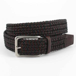 Torino Leather Italian Cotton & Woven Leather Belt Black / Brown Image