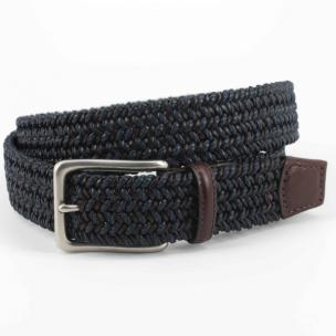 Torino Leather Italian Cotton & Woven Leather Belt Navy / Blue Image