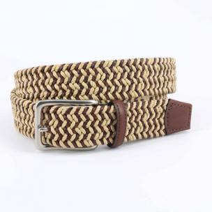 Torino Leather Italian Cotton & Woven Leather Belt Camel / Cognac Image