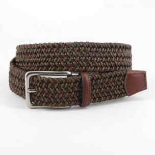 Torino Leather Italian Cotton & Woven Leather Belt Olive / Cognac Image