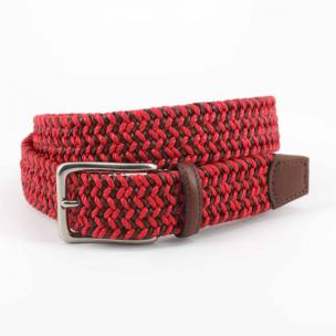 Torino Leather Italian Cotton & Woven Leather Belt Red / Cognac Image