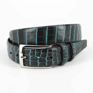 Torino Leather Nile Crocodile Belt Black / Turquoise Image