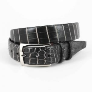 Torino Leather Nile Crocodile Belt Black / White Image