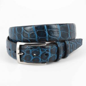 Torino Leather Nile Crocodile Belt Navy / Blue Image