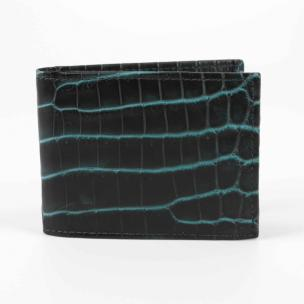 Torino Leather Nile Crocodile Billfold Wallet Black / Turquoise Image