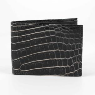 Torino Leather Nile Crocodile Billfold Wallet Black / White Image