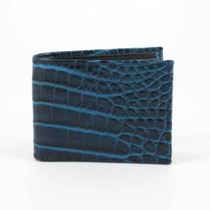 Torino Leather Nile Crocodile Billfold Wallet Navy Blue Image