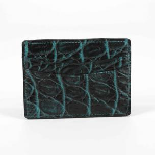 Torino Leather Nile Crocodile Card Case Black / Turquoise Image
